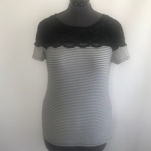 H&M Black & White Stripe T-Shirt With Lace